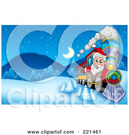 Royalty-Free (RF) Clipart Illustration of Santa Driving A Train In A Winter Landscape by visekart