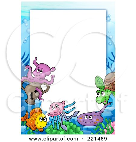 Royalty-Free (RF) Clipart Illustration of a Frame Of Sea Creatures Around White Space - 2 by visekart