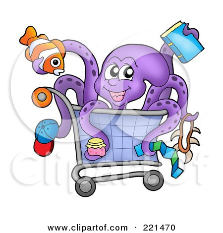 Royalty-Free (RF) Clipart Illustration of a Purple Octopus Holding Items And Sitting In A Shopping Cart by visekart