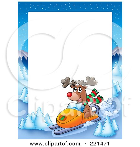 Royalty-Free (RF) Clipart Illustration of a Christmas Frame Border Of A Winter Landscape And Rudolph Snowmobiling Around White Space by visekart