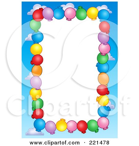 Royalty-Free (RF) Clipart Illustration of a Border Of Party Balloons And Blue Sky Around White Space by visekart