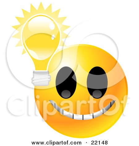 Clipart Illustration of a Yellow Emoticon Face Grinning With A Lightbulb, Symbolizing Ideas And Knowledge by Tonis Pan