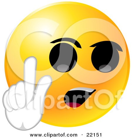 Clipart Illustration of a Yellow Emoticon Face With Big Black Eyes And An Open Mouth, Holding Up His Hand And Arguing Or With An Idea by Tonis Pan