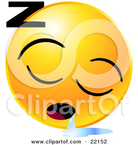 Clipart Illustration of a Yellow Emoticon Face Sleeping And Drooling With A Puddle Of Liquid by Tonis Pan