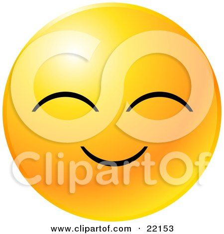 Clipart Illustration of a Yellow Emoticon Face With A Pleasant Smile by Tonis Pan