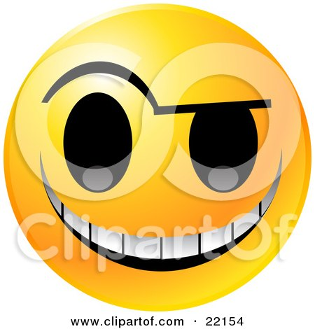 Clipart Illustration of a Yellow Emoticon Face With An Evil Michievious Grin by Tonis Pan