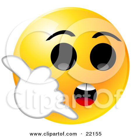 Clipart Illustration of a Yellow Emoticon Face With Big Black Eyes, Holding His Hand Up Like A Celll Phone And Hollering For Someone To Call Him by Tonis Pan