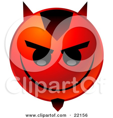Clipart Illustration of a Red Emoticon Face With Devil Horns And A Goatee, Grinning by Tonis Pan