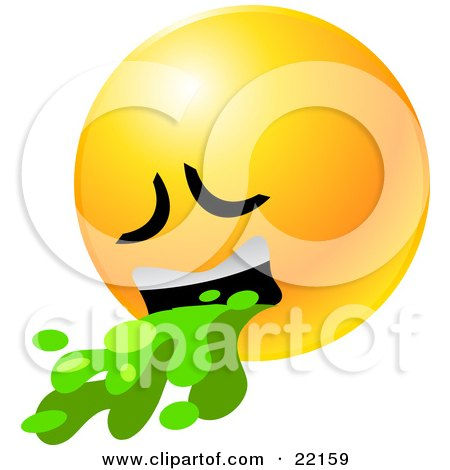 Clipart Illustration of a Yellow Emoticon Face Puking Up Green Barf by Tonis Pan