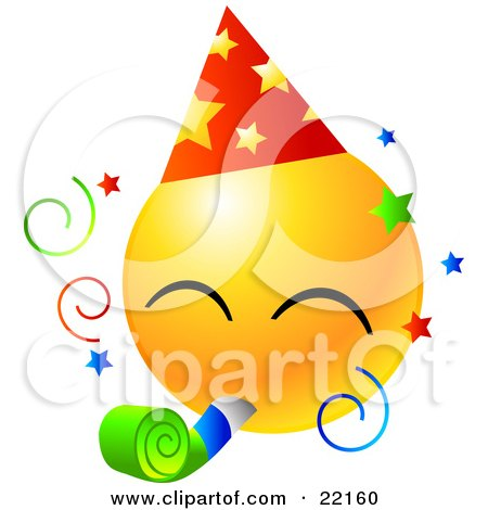 Clipart Illustration of a Yellow Emoticon Face Wearing A Party Hat And Blowing On A Noise Maker At A Party by Tonis Pan