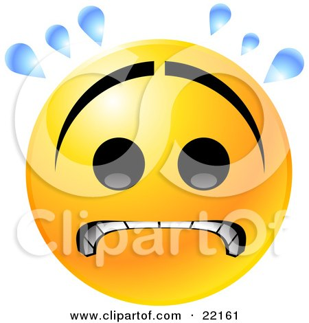 Clipart Illustration of a Yellow Emoticon Face With A Frown, Gritting Its Teeth And Sweating While Stressing Out by Tonis Pan