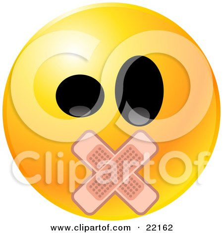 Clipart Illustration of a Yellow Emoticon Face With Big Black Eyes And Bandages Over His Mouth by Tonis Pan