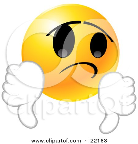 Clipart Illustration of a Yellow Emoticon Face Giving Two Thumbs Down In Disappointment by Tonis Pan