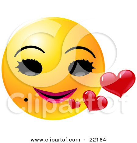 Clipart Illustration of a Yellow Female Emoticon Face With Big Black Eyes, A Mole And Pink Lips, Smiling With Red Hearts by Tonis Pan