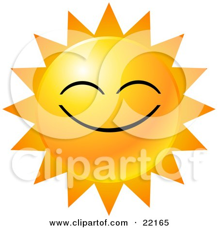 Clipart Illustration of a Yellow Emoticon Face Displayed As The Sun, With Rays Of Light, Symbolizing Happiness by Tonis Pan