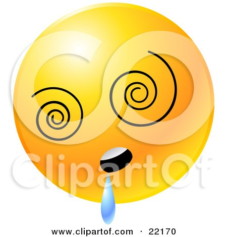 Clipart Illustration of a Yellow Emoticon Face With Vortex Eyes, Drooling by Tonis Pan