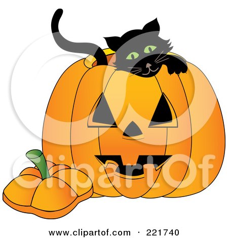 Royalty-Free (RF) Clipart Illustration of a Cute Black Kitten Inside A Jackolantern by Pams Clipart