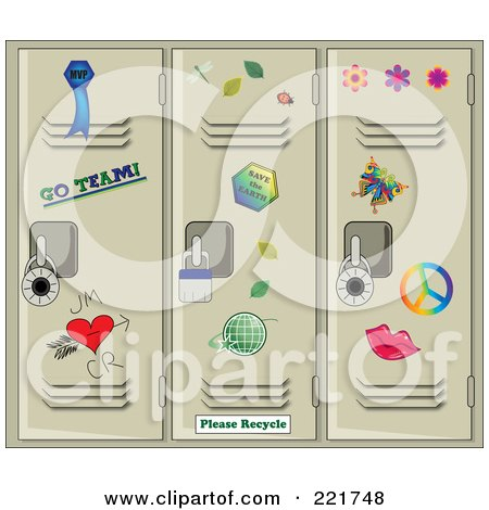 Royalty-Free (RF) Clipart Illustration of Scattered Stickers On Tan School Lockers by Pams Clipart