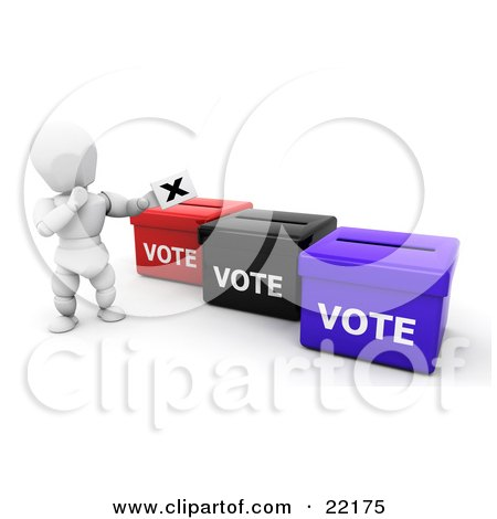 Clipart Picture of a White Person In Thought, Standing By Red, Black And Blue Ballot Boxes And Casting Their Vote by KJ Pargeter