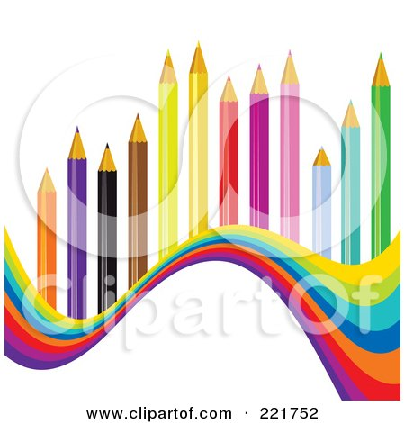 Royalty-Free (RF) Clipart Illustration of a Wave Of Colors Under Colored Pencils by MilsiArt