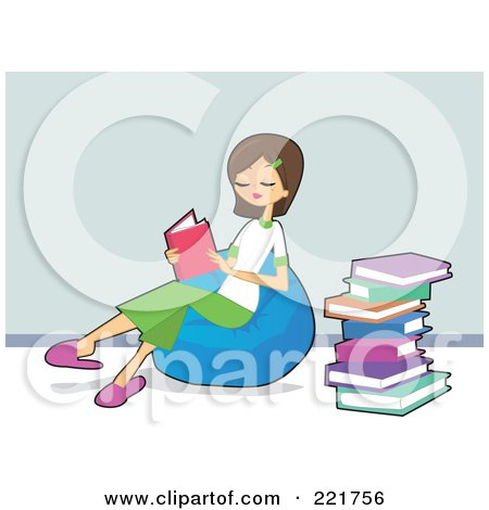 Royalty-Free (RF) Clipart Illustration of a Teen Caucasian Girl Sitting On A Bean Bag And Reading Books by peachidesigns