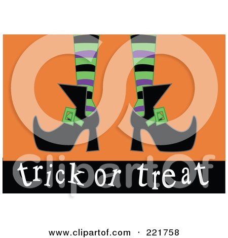 Royalty-Free (RF) Clipart Illustration of a Witch's Feet With Green, Purple And Black Stockings And Pointed Shoes, Above Trick Or Treat, On Orange by peachidesigns