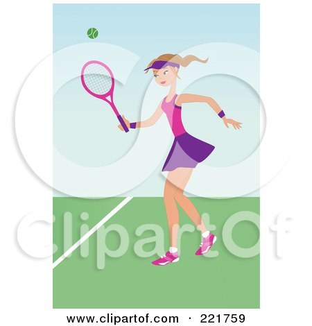 Royalty-Free (RF) Clipart Illustration of a Fit Caucasian Woman Playing Tennis On A Court by peachidesigns