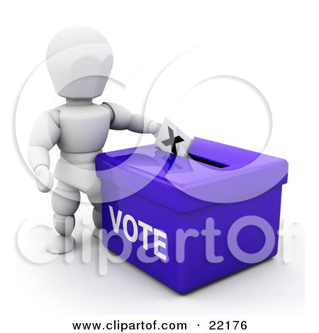White Person Standing Over A Blue Ballot Box And Casting Their Vote Posters, Art Prints