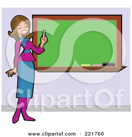 Royalty-Free (RF) Clipart Illustration of a Beautiful Brunette Caucasian Teacher Holding Chalk And Smiling By A Blank Board