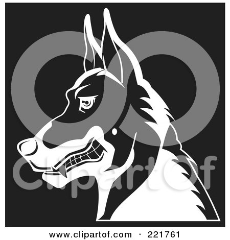 Royalty-Free (RF) Clipart Illustration of a Black And White Profiled Growling German Shepherd Dog by David Rey