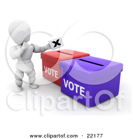 White Person In Thought, Standing Over Red And Blue Ballot Boxes And Casting Their Vote Posters, Art Prints