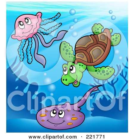 Royalty-Free (RF) Clipart Illustration of a Cute Sea Turtle, Squid And Ray by visekart