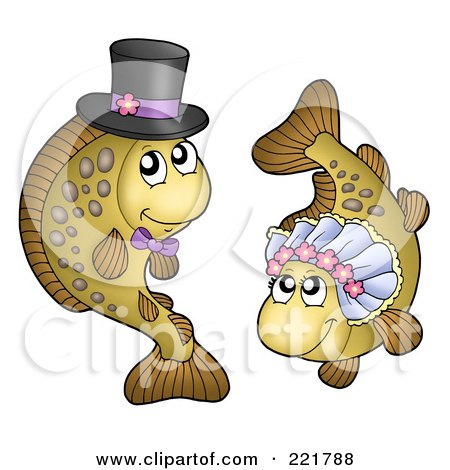 Royalty-Free (RF) Clipart Illustration of a Carp Fish Bride And Groom by visekart