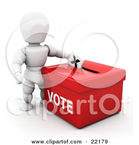 Clipart Picture of a White Person Standing Over A Red Ballot Box And Casting Their Vote by KJ Pargeter