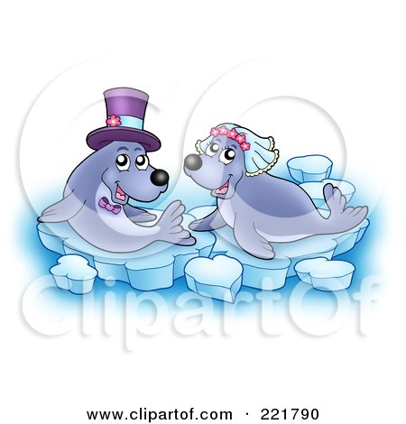 Royalty-Free (RF) Clipart Illustration of a Seal Bride And Groom On Ice by visekart