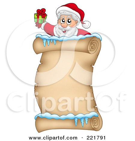 Royalty-Free (RF) Clipart Illustration of Santa Holding A Gift Over An Icy Parchment Scroll Page by visekart