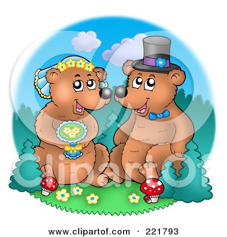 Royalty-Free (RF) Clipart Illustration of a Bear Wedding Couple By A Forest by visekart