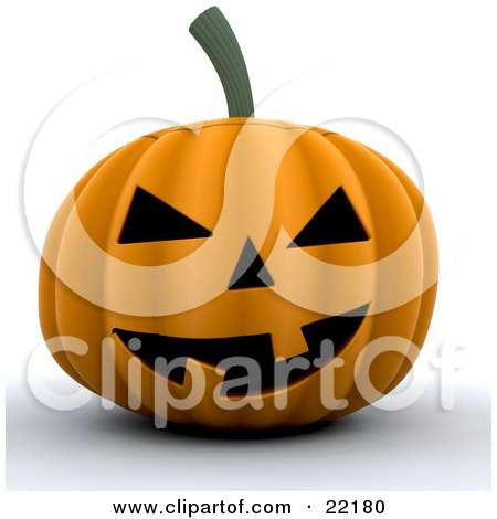 Clipart Picture of a Grinning Orange Halloween Pumpkin Jack O Lantern With Two Crooked Teeth by KJ Pargeter