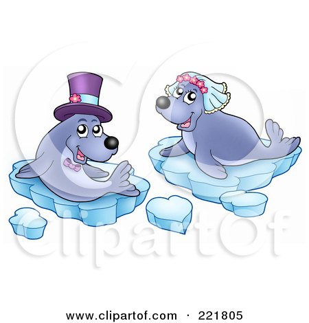 Royalty-Free (RF) Clipart Illustration of a Seal Wedding Couple With Ice by visekart