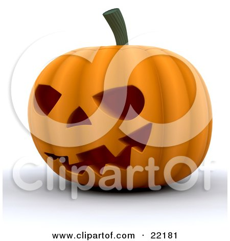Clipart Picture of an Illuminated Halloween Pumpkin, Carved With An Evil Grin With Teeth by KJ Pargeter