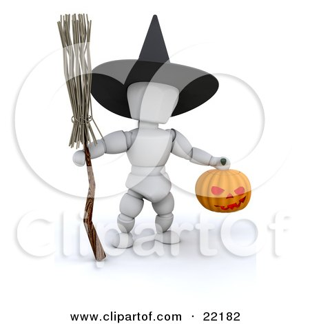 White Character Wearing A Black Witch Hat And Carrying A Broomstick And A Carved Halloween Pumpkin Lantern Posters, Art Prints