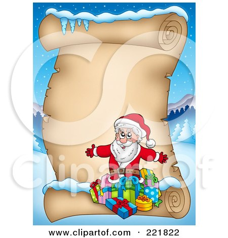 Royalty-Free (RF) Clipart Illustration of Santa With Gifts On A Blank Aged Parchment Sign by visekart