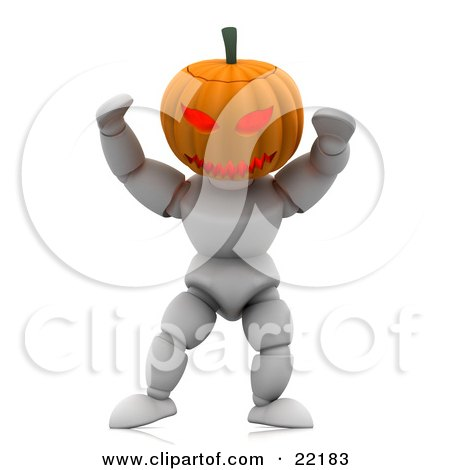Clipart Picture of a Scary White Character With A Carved Jackolantern Pumpkin Head With A Ferocious Face, Walking Around On Halloween And Scaring Children by KJ Pargeter