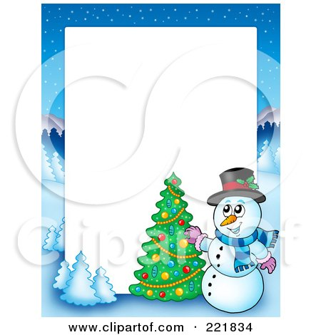 Royalty-Free (RF) Clipart Illustration of a Christmas Frame Border Of A Winter Landscape And Snowman Decorating A Tree Around White Space by visekart