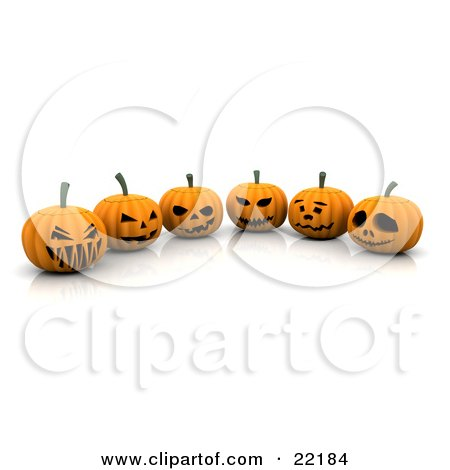 Clipart Picture of Six Orange Halloween Pumpkins Carved With Scary Jack O Lantern Faces, Lined Up by KJ Pargeter
