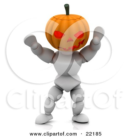 Clipart Picture of a White Character With A Carved Jackolantern Pumpkin Head, Walking Around With His Arms Up On Halloween And Scaring Children by KJ Pargeter