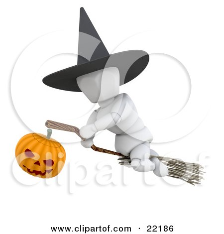 Clipart Picture of a White Character Wearing A Black Witch Hat And Flying Through The Sky On A Broomstick, Illuminated With A Jack O Lantern Pumpkin On Halloween by KJ Pargeter