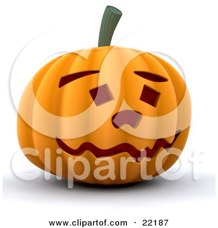 Clipart Picture of a Goofy And Friendly Carved Orange Halloween Pumpkin With A Wavy Mouth, Eyebrows And Square Eyes by KJ Pargeter
