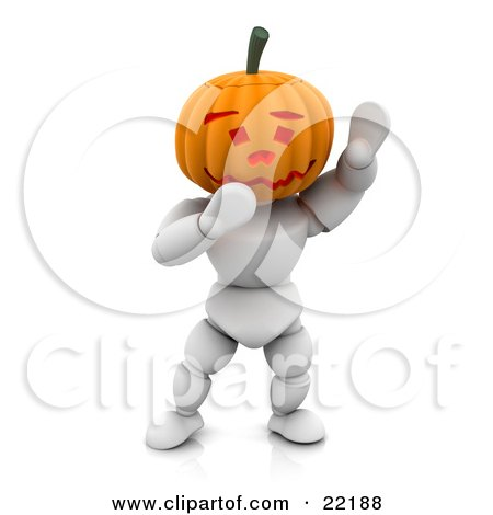 Clipart Picture of a Funny White Character With A Carved Jackolantern Pumpkin Head With A Friendly Expression, Walking Around On Halloween And Waving by KJ Pargeter