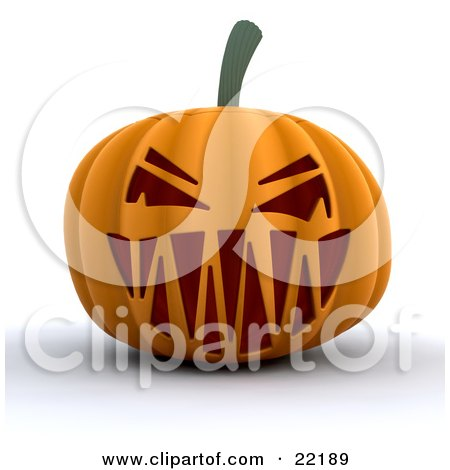 Clipart Picture of an Evil Orange Halloween Pumpkin With A Scary Toothy Jack O Lantern Face by KJ Pargeter